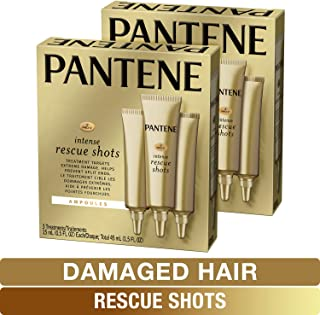 Pantene, Rescue Shots Hair Ampoules Treatment, Intensive Repair of Damaged Hair, Pro-V, 0.5 fl oz (3 Count), Twin Pack