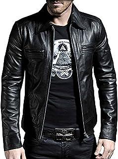 Laverapelle Men's Genuine Lambskin Leather Jacket (Black, Aviator Jacket) - 1501200