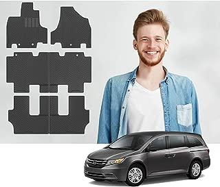 Road Comforts Custom Fit Honda Odyssey 1st + 2nd + 3rd Row - All Weather Floor Mats, Heavy Duty (6pcs) (Black) 2011, 2012, 2013, 2014, 2015, 2016, 2017
