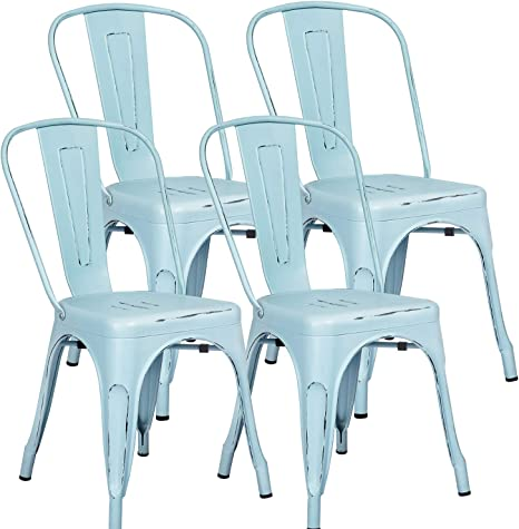Amazon Com Furniwell Metal Dining Chairs Indoor Outdoor Use Stackable Kitchen Chair Trattoria Side Chic Dining Bistro Cafe Chairs With Back Set Of 4 Distressed Blue Furniture Decor