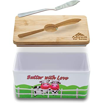 Adirom Butter Dish with Sealed Lid | Elegant Melamine Butter Keeper with Bamboo Cover | Unbreakable, Countertop Farmhouse Plastic Butter Holder Set | Keep Butter Soft and Fresh, Bonus Spreading Knife