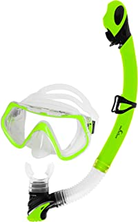 Own the Wave Snorkeling Gear - Diving Mask (Shatterproof Tempered Glass, Anti-Leak Silicone Skirt & Adjustable Straps) and Snorkel (Dry Top & Purge Valve). Individual Items Also Available