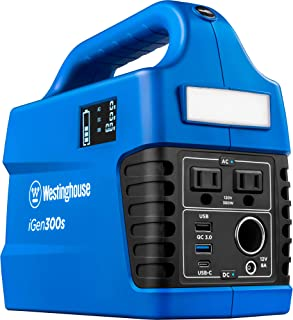 Westinghouse Outdoor Power Equipment iGen300s Portable Power Station and Outdoor Generator 600 Peak 300 Rated Watts, 296Wh...