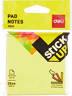Deli EA02002 Flip Sticky Note, 76 x 76mm, Assorted (Pack of 4)