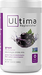 Ultima Replenisher Electrolyte Hydration Powder, Grape, 90 Serving Canister - Sugar Free, 0 Calories, 0 Car...