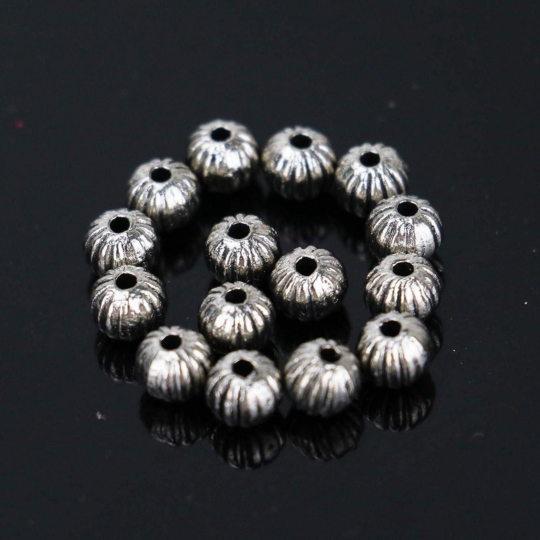 Buorsa 100 Pcs Silver Corrugated Pumpkin Bead Bicone Spacer Metal Bead Bracelet Making