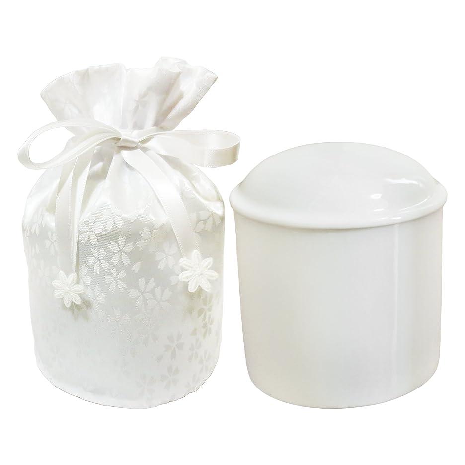 長さカビインタネットを見る仏具 骨壷 4寸 小桜 ホワイト 覆い袋 付き 巾着タイプ 手元供養