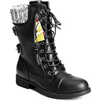 Trary Women's Winter Knit Mid Calf Combat Boots (Black)