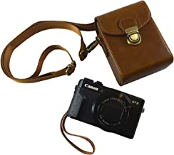 Compact Leather Camera Case Strap - Digital Point and Shoot Cases Camera Bag with Detachable Strap Powershot G7X Mark ii G9 (Brown Leather)