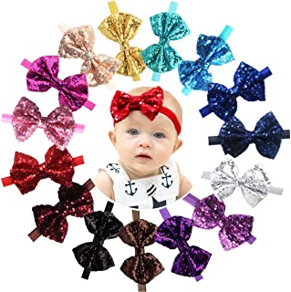 """15pcs Baby Girl Headbands Sparkly Glitter Sequins 4"""" Big Hair Bows Ribbon Soft Stretchy Hair Bands for Infant Newborn and ..."""