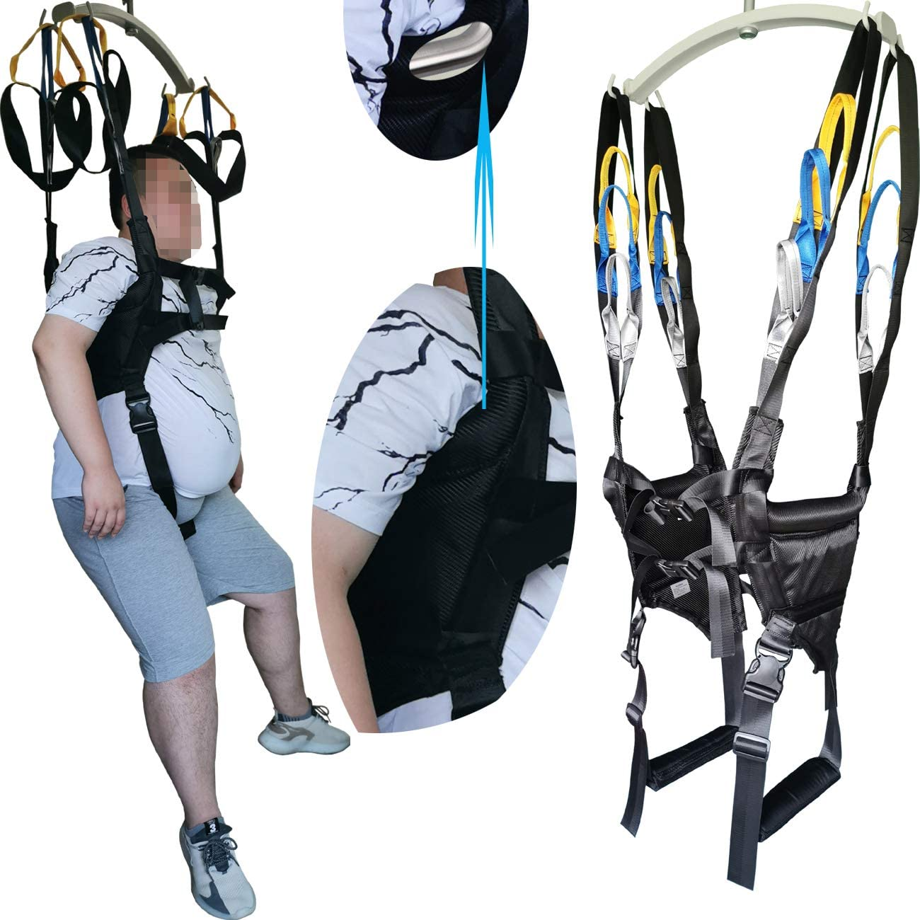 Patient Lift Sling Medical Standing Aid Walking Support Toileting Transfer Gait Belt Leg Exercisers Fold Up Invalid Elderly Full Body Adjustable Strap AidLot Black Free Size : Health & Household