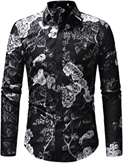 SuperSU Men's Autumn Winter Casual Print Floral Long Sleeve Button T-Shirt Top Blouse Fashion Long Sleeve Shirt with Colourful Print Pattern Casual Polo Shirt Oktoberfest