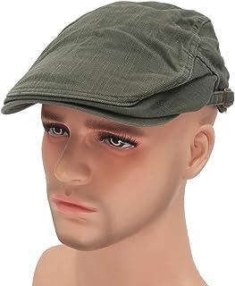 070255b095d Roffatide Solid Color Canvas Strap Newsboy Cap Driving Cabby Ivy Golf Beret  Hat