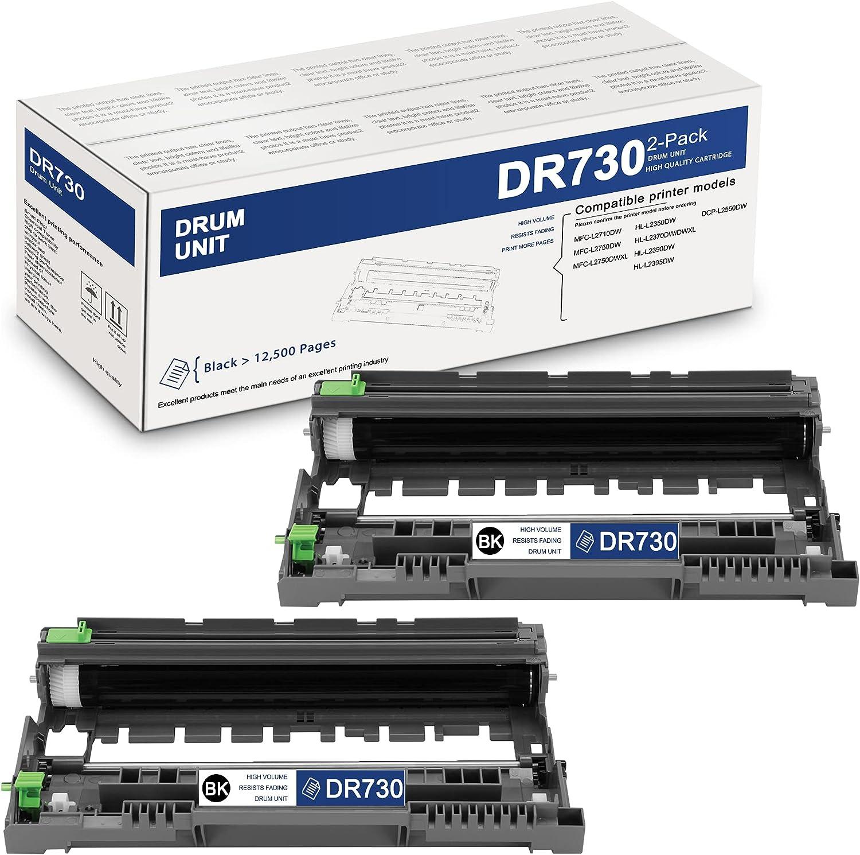 HighYield2PackBlackDR730DR-730CompatibleDrum UnitReplacementforBrother DCP-L2550DW MFC-L2710DW L2750DW L2750DWXL HL-L2350DW L2370DW/DWXL L2390DW L2395DWPrinter