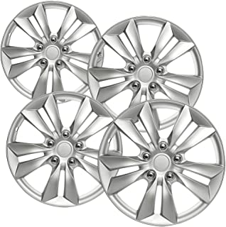 OxGord Hubcaps for Toyota (Pack of 4) Wheel Covers - 16 inch, Snap On, Silver 5 Lug
