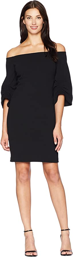 Cinched Sleeve Off Shoulder Crepe Ponte Dress