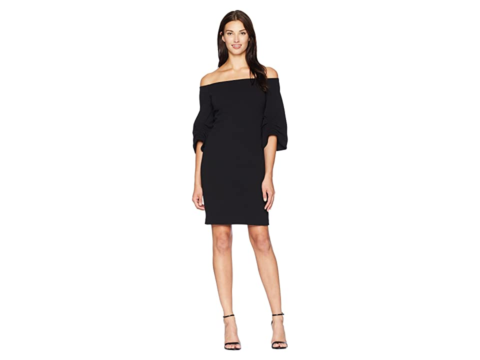 Vince Camuto Cinched Sleeve Off Shoulder Crepe Ponte Dress (Rich Black) Women