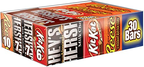 HERSHEY'S Halloween Chocolate Candy Bar Assorted Variety Pack Milk Chocolate, Milk Chocolate Almond, KIT KAT, Reese'S Cups, Full Size, 30 Count Gift