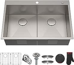 Kraus KP1TD33S-2 Pax Kitchen Sink Double Bowl, 33 Inch, Low Divider 33