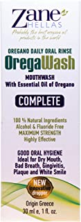 Zane Hellas Oregawash MouthWash. Oral Rinse with Oregano Oil Power. Ideal for Gingivitis, Plaque, Dry Mouth, and Bad Breath. Alcohol and Fluoride Free. 100% Herbal Solution. 1 fl.oz.-30ml.