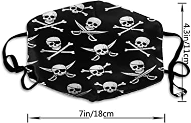 ETHAICO Fillter Cloth for Mens and Womens,Seamless Pirate Pattern with Jolly Roger in Different,Reusable Windproof Cloth Half