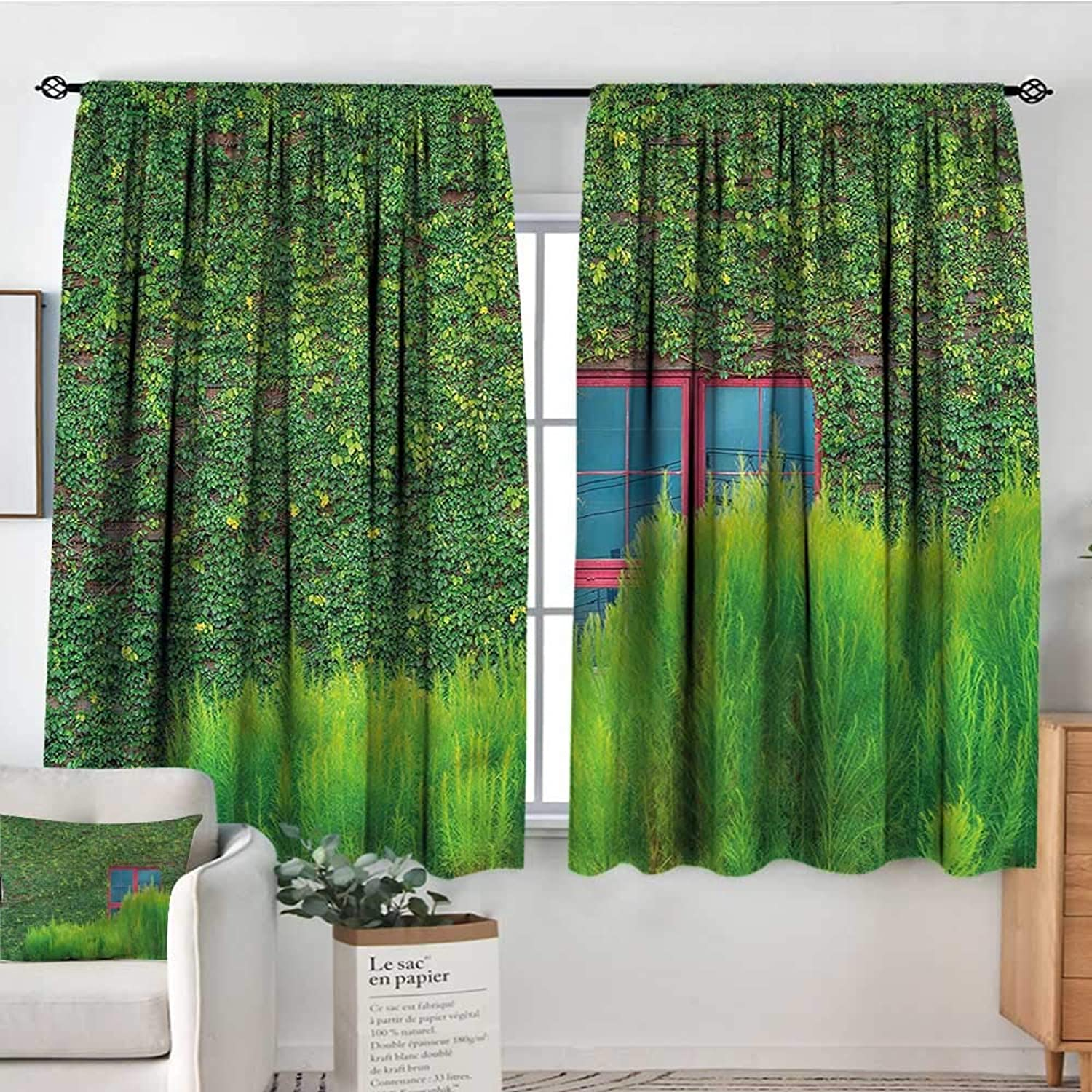 Sanring Green,Indo Panes Drapes Wooden Wall with Green Vines 42 X63  Kids Backout Curtains for Bedroom