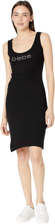 bebe Rib Tank Logo Midi Dress