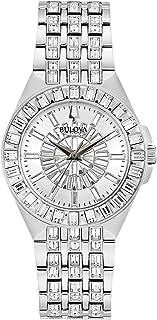 ساعة بولوفا فانتوم ستانلس ستيل فضية مرصعة بالكريستال للسيدات 96L278