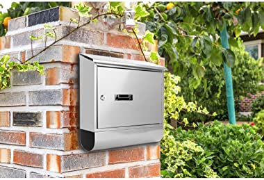 Serene Life Modern Wall Mount Lockable Mailbox Outdoor Galvanized Metal Key Large Capacity Commercial Rural Home Decorative &