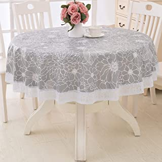 Round Vinyl Oilcloth Lace Tablecloth Waterproof PVC Plastic Wipeable Spillproof Peva Heavy Duty Tablecloth for Outdoor Patio Grey Flower 60 Inch