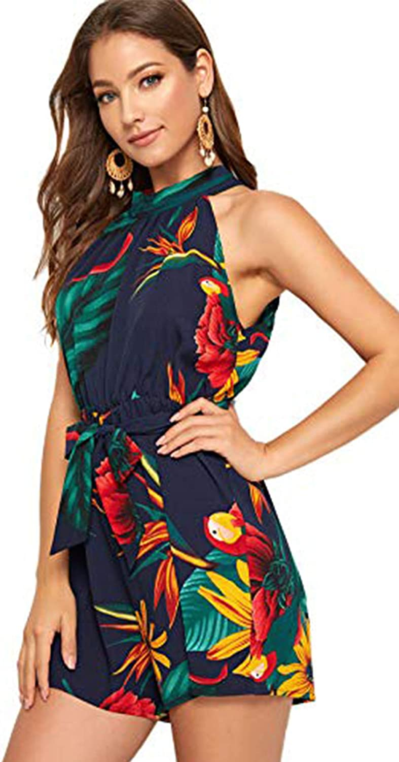 SheIn Womens Tropical Floral Tie Back Belted Halter Romper Boho Sleeveless Playsuit Summer Jumpsuit Casual Jumper