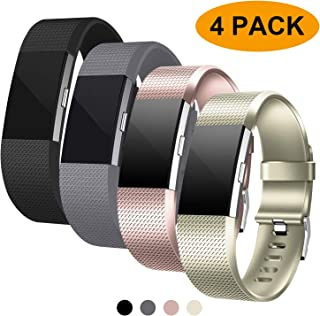 Fondenn Bands Compatible with Fitbit Charge 2 for Women and Men (4 Pack), Classic Adjustable Soft Silicone Sport Strap Replacement Wristband for Fitbit Charge 2