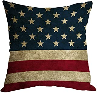 Moslion American Flag Pillow,Home Decorative Throw Pillow Cover Vintage USA Flag Burlap..