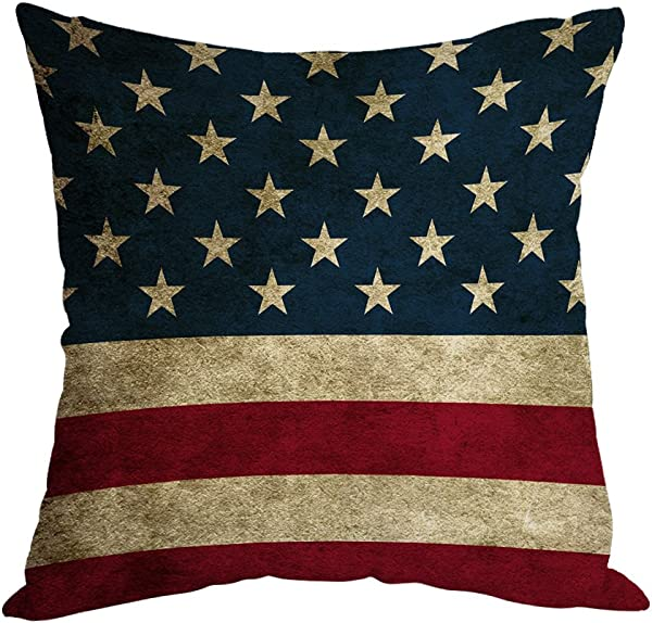 Moslion American Flag Pillow Home Decorative Throw Pillow Cover Vintage USA Flag Burlap Cotton Linen Cushion For Couch Sofa Bedroom Livingroom Kitchen Car 18 X 18 Inch Square Pillow Case