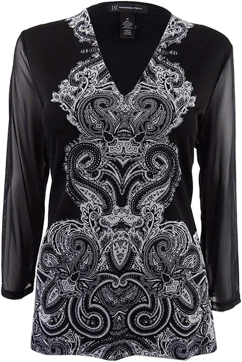 INC International Concepts Women& 39;s Printed Illusion Top