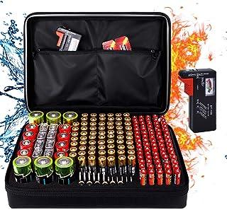 Fireproof Battery Organizer Storage Box, Fireproof Waterproof Explosionproof Safe Carrying Case Bag Hard Holder, Holds 200...