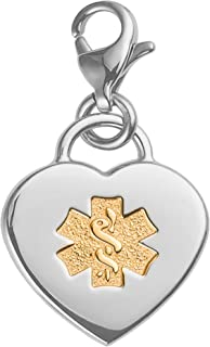 Divoti Deep Custom Laser Engraved Adorable Heart 316L Medical Alert Charm/Medical ID Charm w/Lobster Clasp
