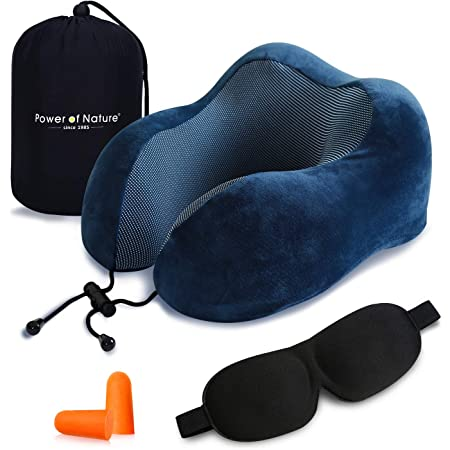 Cuscino da viaggio memory foam – The Best a forma di U collo cuscino con 360 Head & tridimensionale pieno supporto cervicale collo cuscino da viaggio perfetto per aereo auto & home use (Blu Scuro)