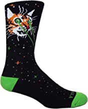 MOXY Socks CATZILLA Black/Green/Orange Galaxy Mid-Calf Crew Performance Socks