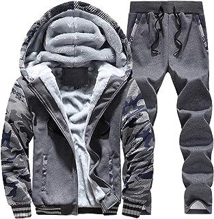 Men's Winter Thick Warm Fleece Long Sleeve Tracksuits Two Pieces Sets Full-Zip Sweat Suit Fur Lined Hoodies Plus Size Set