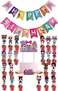 LOL 24pcs Cupcake Toppers and LOL Banner, LOL Cake Topper Party Supplies Baby Shower Decorations Theme Party