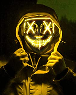 Scary Halloween Mask, LED Light up Mask Cosplay, Glowing in The Dark Mask Costume 3 Lighting Modes, Halloween Face Masks f...