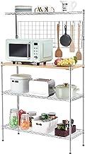 kingrack Étagère de Cuisine sur Pied avec Table en Bois, Support de Four à Micro-Ondes, étagère de Rangement Utilitaire en...