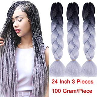 RN BEAUTY Ombre Synthetic Braiding Hair 3 Bundles Deals Afro Jumbo Braids Hair Extensions High Temperature Heat Resistant Fiber for Twist Crochet Hair Weave 24 Inch 2 Tone Color Black/Silver Grey