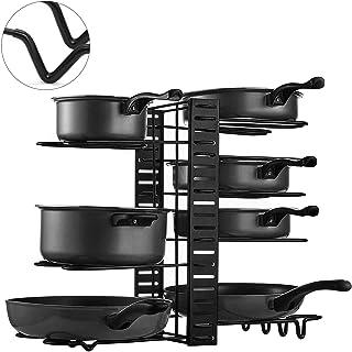 Organizador Ollas y Sartenes Soporte para Sartenes de Cocina Organizador Extensible con 8 Compartimentos Metálicos para Ta...