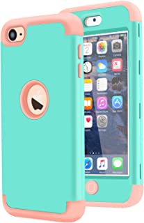 Dailylux iPod Touch 7 Case,iPod Touch 5 Case,iPod Touch 6 Case,3in1 Hybrid Impact Resistant Shockproof Hard Soft Silicone Protective Cover for Apple iPod Touch 5/6/7th Generation Girls/Boys-Green Rose