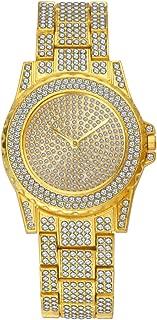 SINOBJ Men Quartz Watch Diamond Quartz Stainless-Steel Bling Classic Geneva Hip Hop Women Luxury Watches Gift