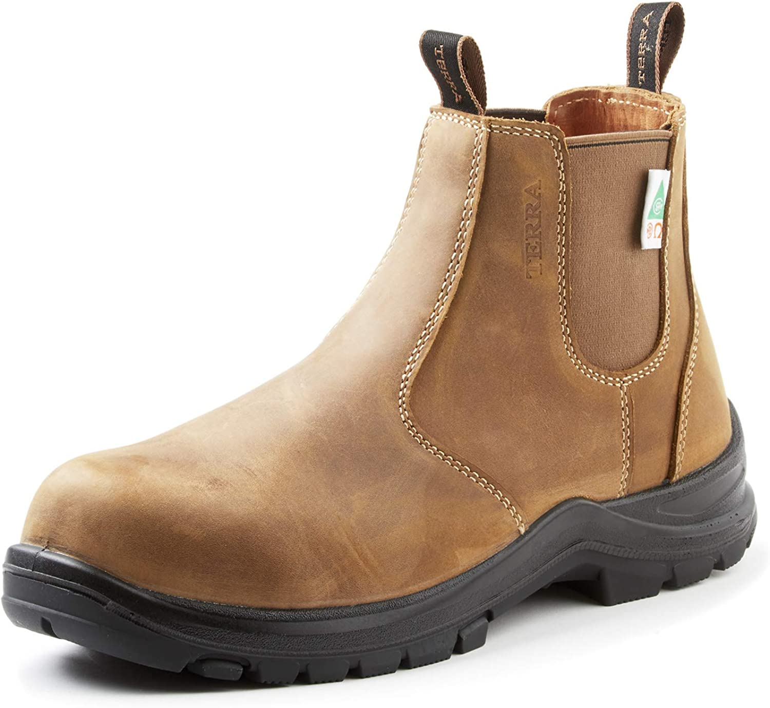 Terra Men's Murphy Chelsea Pull on Composite Safety Toe Eh Puncture Resistant Industrial Boot