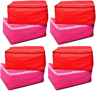 BULBUL combo of red and pink saree covers-8pcs