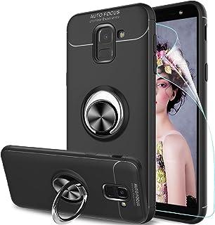 LeYi Compatible con Funda Samsung Galaxy J6 2018 con Anillo Soporte, 360 Ring Grip Gel TPU de Silicona Bumper Case Carcasa para Samsung Galaxy J6 2018 con HD Protector de Pantalla, Negro